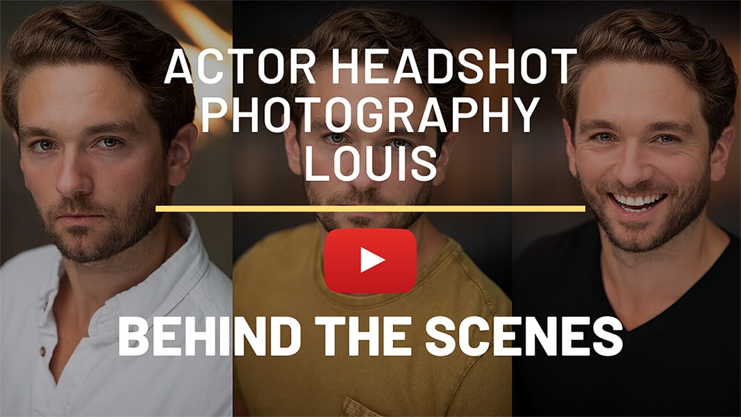 Video of behind the scenes at a Actor Headshot Shoot